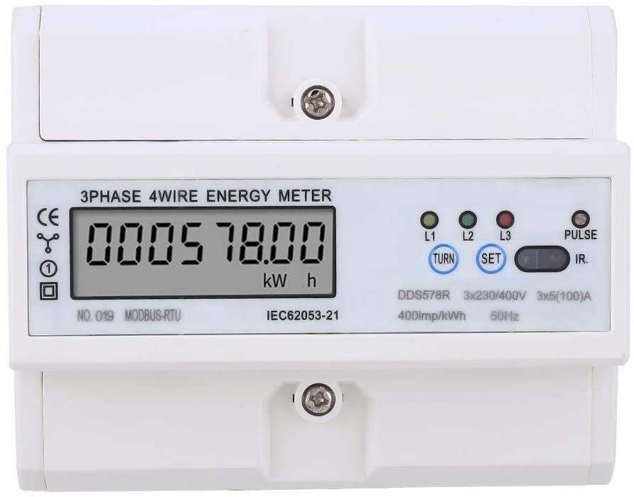 Beennex 3 Phase 4 Wire Digital LCD KWH Meter DIN Rail Wattmeter Electric Energy Meter with RS485