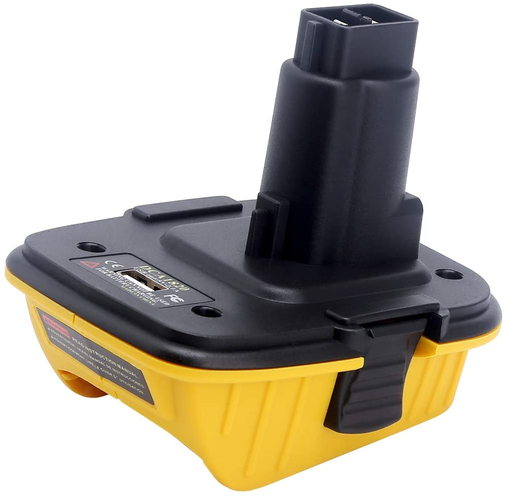 Elefly Dewalt 20V DCA1820 with USB Adapter Replacement for Dewalt 18V Tools, Convert Dewalt 20V Lithium Battery DCB204 DCB205 DCB206 DCB606 to Dewalt 18V NiCad NiMh Battery Tools DC9096 DW9096 DC9098