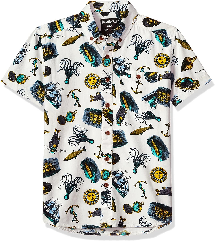 KAVU Little Juan Button Down Shirt, Cove Diver, Youth Medium