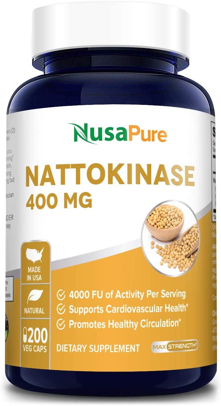 Nattokinase 4000 FU 200 Veggie Capsules (Non-GMO & Gluten Free) Supports Cardiovascular and Circulatory Health
