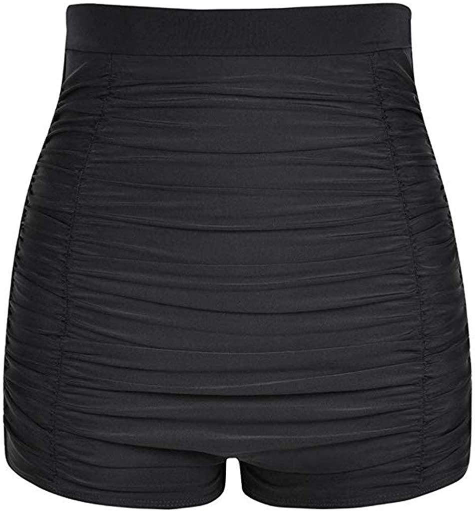 TIANMI Women Plus Size High Waist Bikini Bottoms Swim Briefs Beach Shorts Ruched Bottom