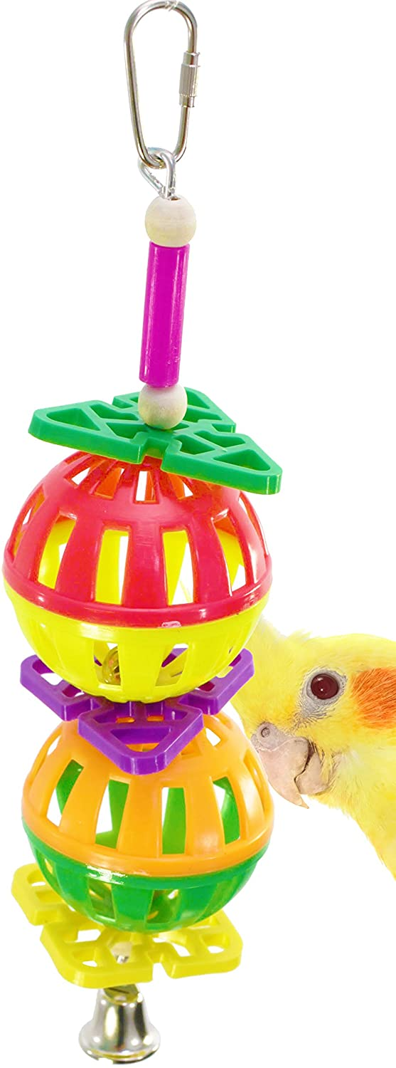 Bonka Bird Toys 1570 Twin Ball Bird Toy Parrot cage Toys Cages Cockatiels Conures African Greys