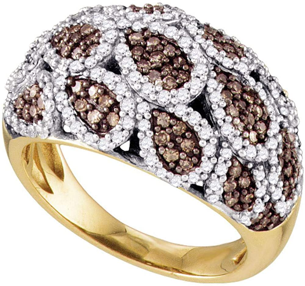 The Diamond Deal 10kt Yellow Gold Womens Round Brown Diamond Fashion Ring 1.00 Cttw
