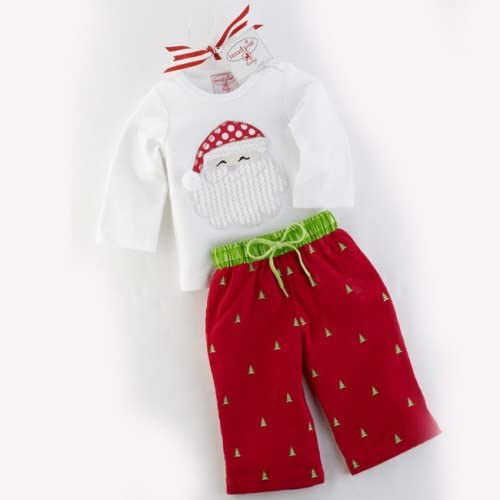 Baby Santa Long Sleved Tee and Tree Corduroys Outfit