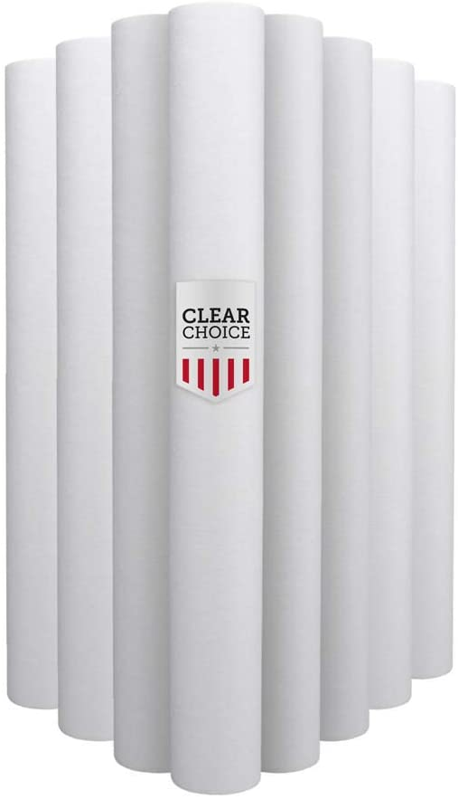 Clear Choice Sediment Water Filter 5 Micron 20 x 2.50 Water Filter Cartridge Replacement 20 inch RO System DEV910912, 155756-43 P5-20 PD-5-20, 8-Pk