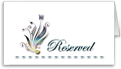 IGC Wedding Table Reserved Sign/Place Cards - (6 Pieces) - CWTR-007H - Wedding Party Supplies - Flower/Floral Design - White Background