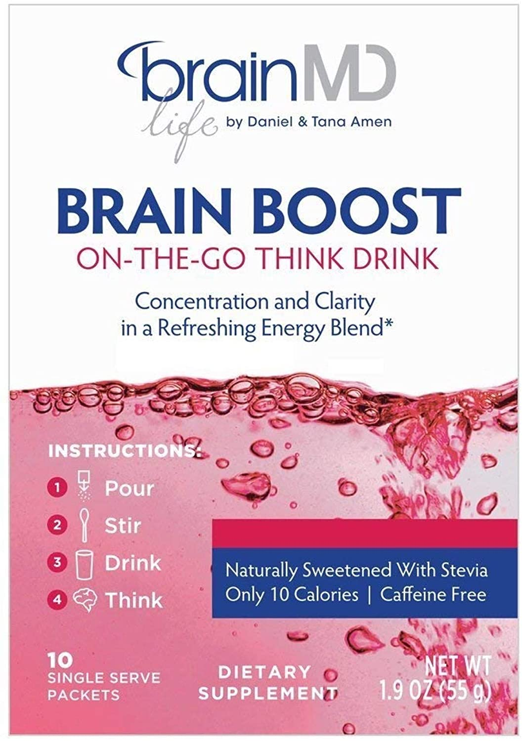 Dr. Amen brainMD Brain Boost On The Go - 10 Packets, Berry Flavor - Nootropic Drink Powder, Promotes Focus, Clarity & Mental Energy - Caffeine-Free, Gluten-Free - 10 Servings