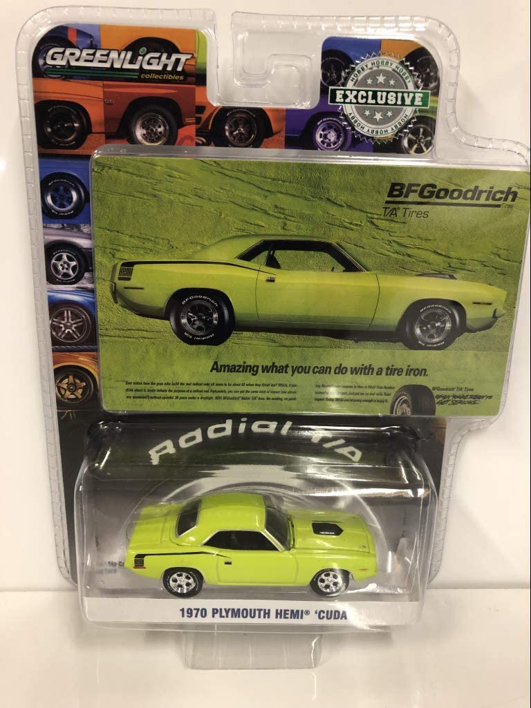 1970 Plymouth HEMI Barracuda Lime Green Amazing What You Can Do with A Tire Iron BFGoodrich Vintage Ad Cars Hobby Exclusive 1/64 Diecast Model Car by Greenlight 29977
