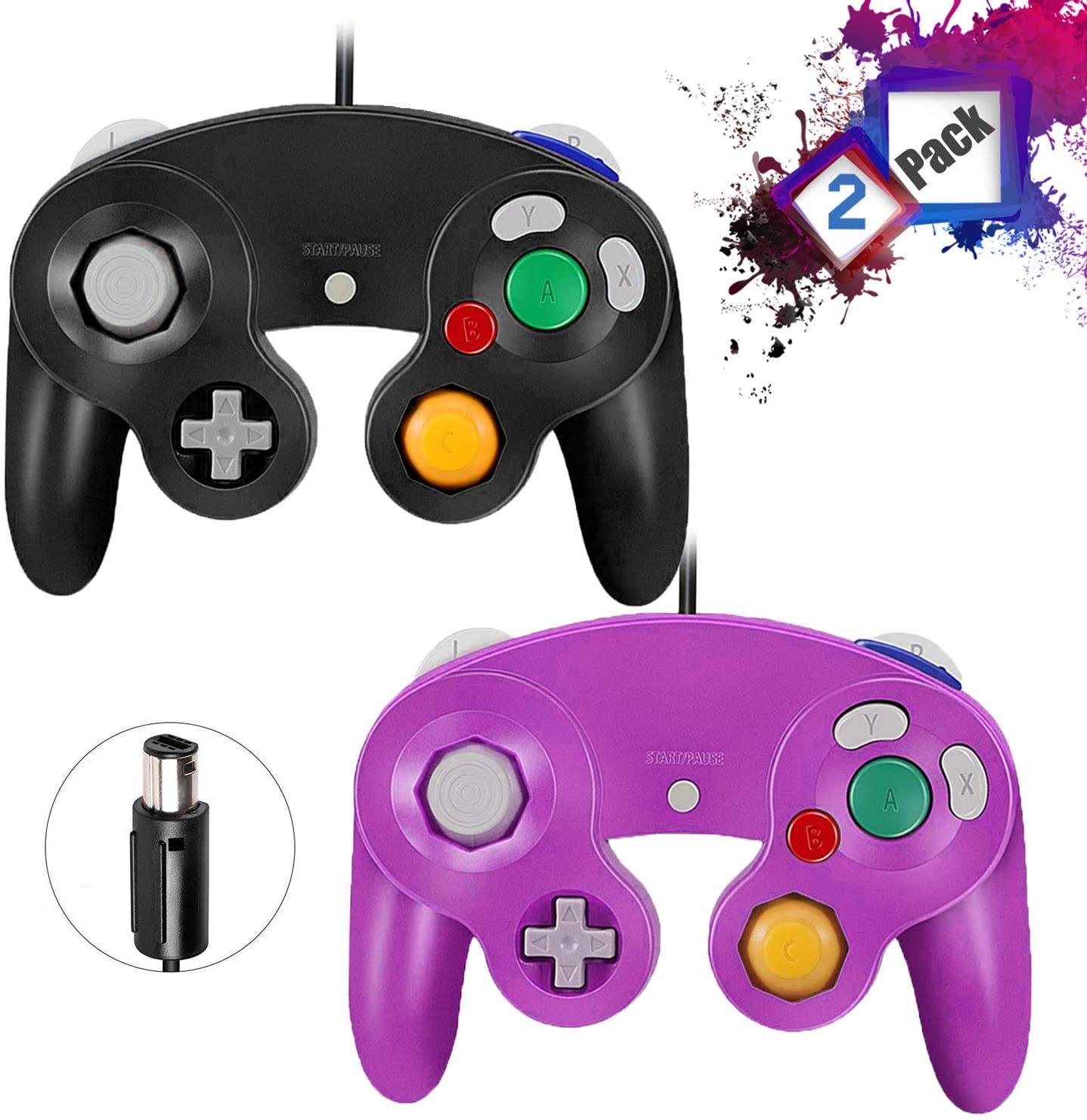 Gamecube Controllers,GALGO Classic Gamecube wii Controller for Nintendo Gamecube Console, Compatible with Wii (Black and Purple)
