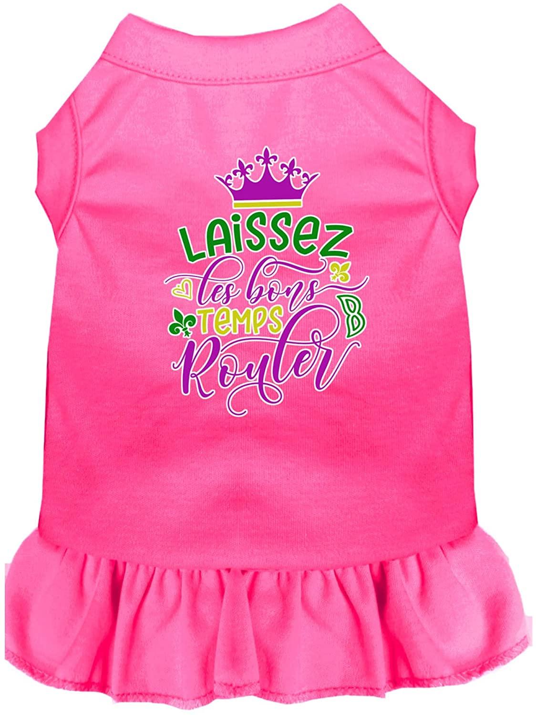 Mirage Pet Product Laissez Les Bons Temps Rouler Screen Print Mardi Gras Dog Dress Bright Pink XXXL