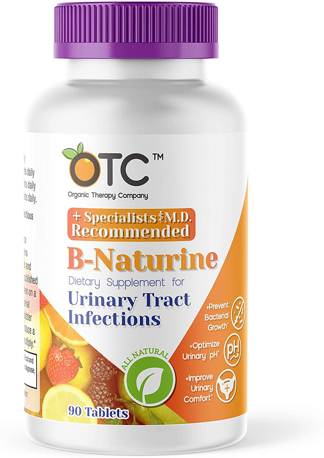 B-Naturine - All Natural Dietary Supplement for Urinary Tract Infections (UTI) Packed with Vitamin C - Developed by Board-Certified Infectious Disease Physicians of The Organic Therapy Company (OTC)