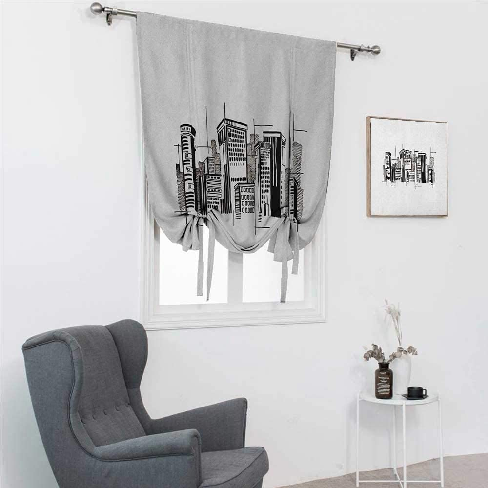 GugeABC Roman Shades City Tie Up Window Shade for Home Abstract Monochrome City Architecture High Buildings Downtown Financial District 48