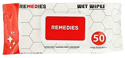 REMEDIES Disposable Adult Wipes Body Washcloth, Deodorizing Hygiene Cleansing Adult Wet Wipes (300 Count)