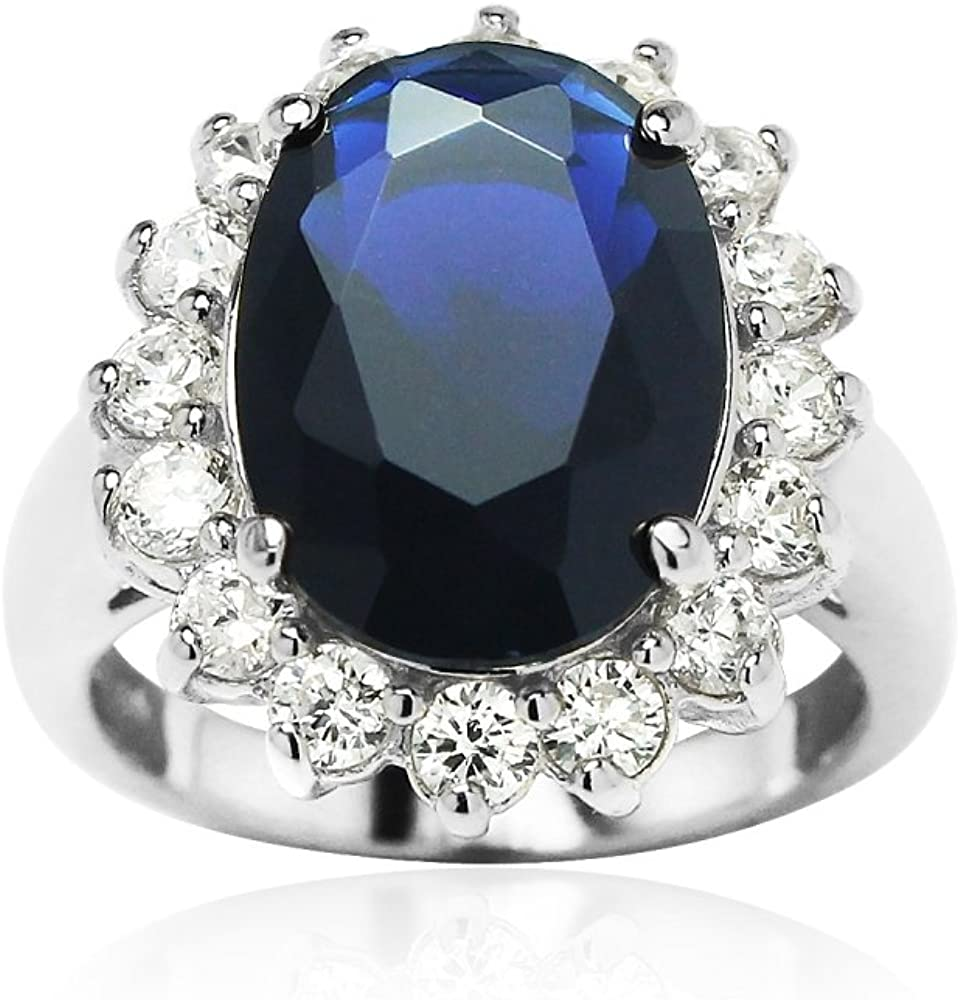 Hoops & Loops Sterling Silver or Gold Flashed Dark Blue Cubic Zirconia Oval Engagement Ring