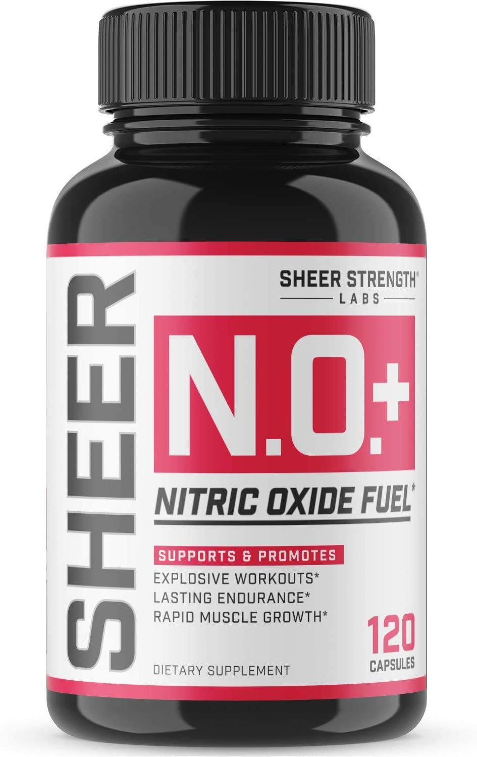 Sheer N.O. + Nitric Oxide Supplement - Premium Muscle Building Nitric Oxide Booster with L Arginine and L Citrulline - Pre Workout Supplement Supports Vascularity & Energy - Sheer Strength - 120ct