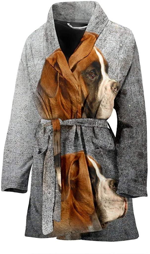 Boxer Dog Print Women's Bath Robe