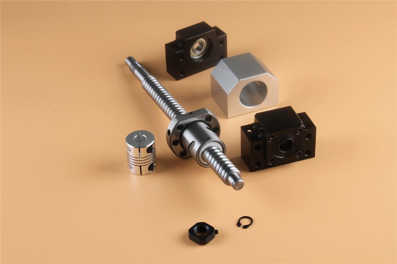CHUANGNENG BallScrew 1605-600mm End Machine with Ballnut Housing+BK/BF12 End Supports+6.35x10mm Coupler+Ball Nut Housing US Stock