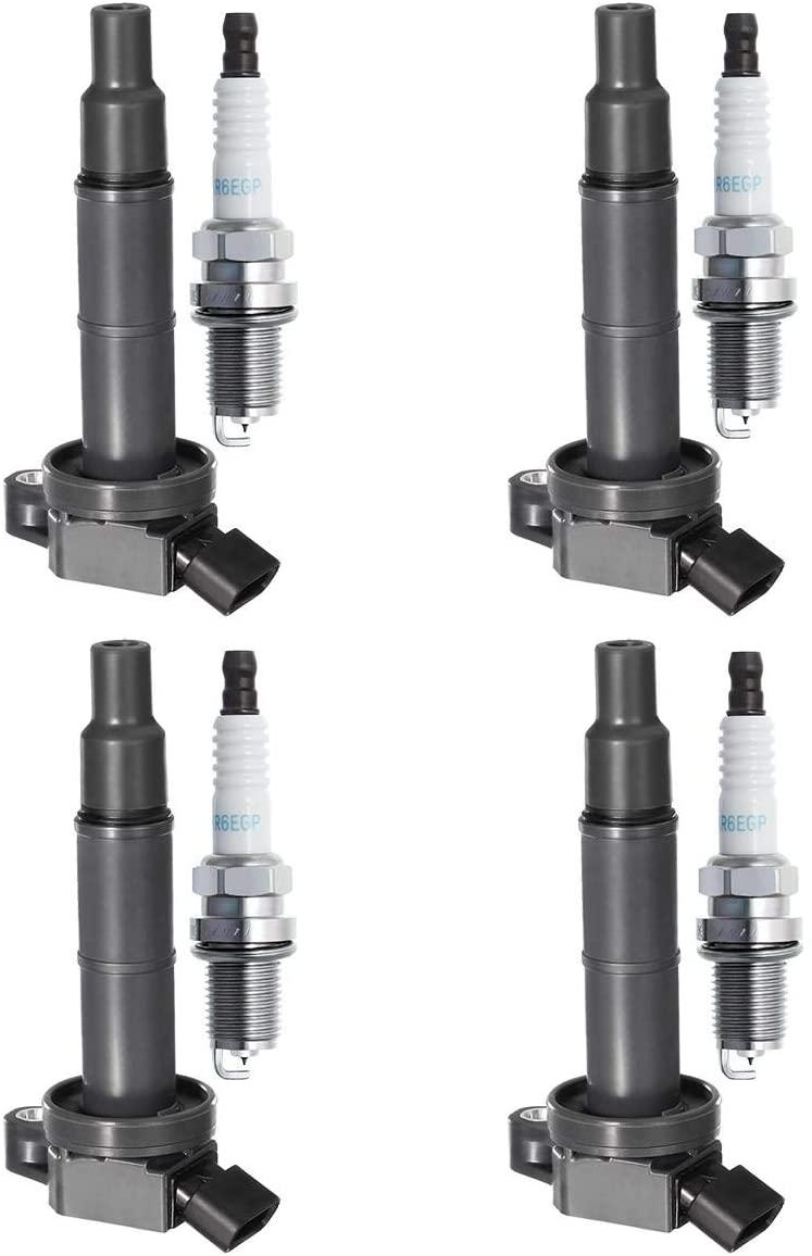 QYL Ignition Coil UF333 & Spark Plug 7092 BKR6EGP MIU12783 for Camry Matrix RAV4 Highlander Solara Vibe TC HS250h 2.4L 3.0L 3.3L l4 V6 (Set of 4)