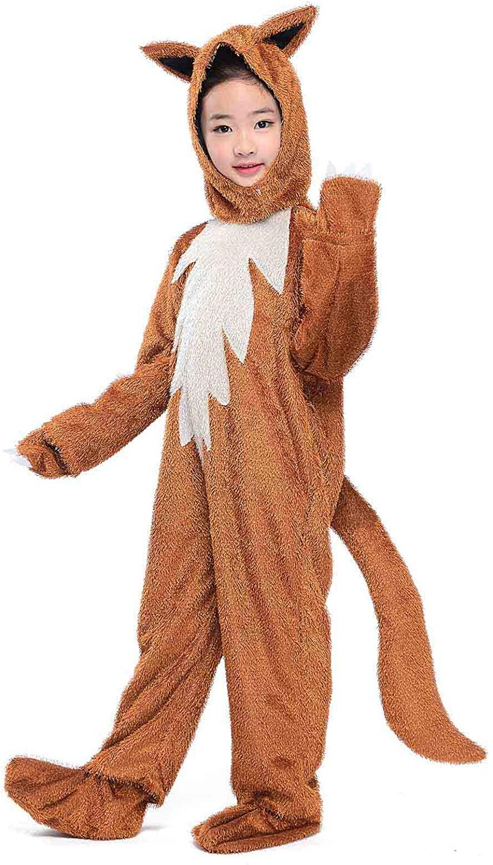Kids Animals Costume Sly Fox Cosplay Halloween Childen Party Fancy Dress DIY Suit (Fox, M)