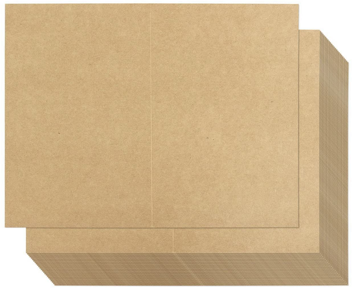 100 Sheets Kraft Greeting Card Stock - Half Fold Greeting Cards for Inkjet and Laser Printers, Printable Blank Note Cards, 8.5 x 5.5 Inches Folded