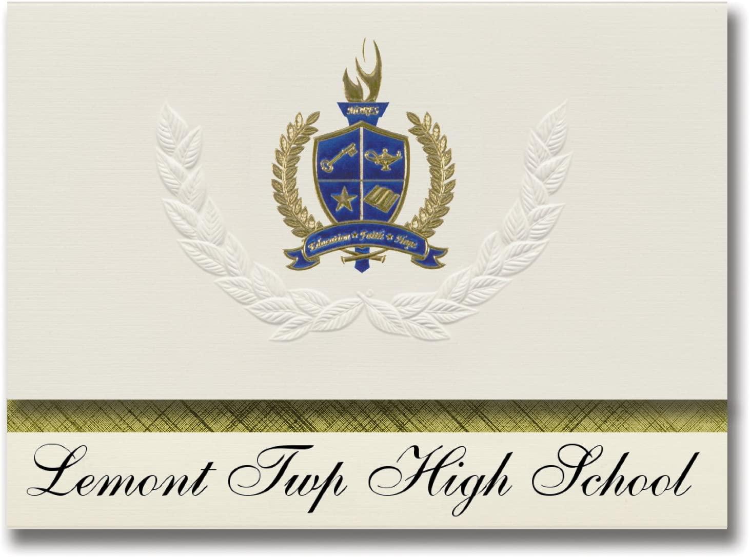 Signature Announcements Lemont Twp High School (Lemont, IL) Graduation Announcements, Presidential style, Elite package of 25 with Gold & Blue Metallic Foil seal