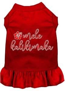 Mirage Pet Product Mele Kalikimaka Screen Print Dog Dress Red Lg