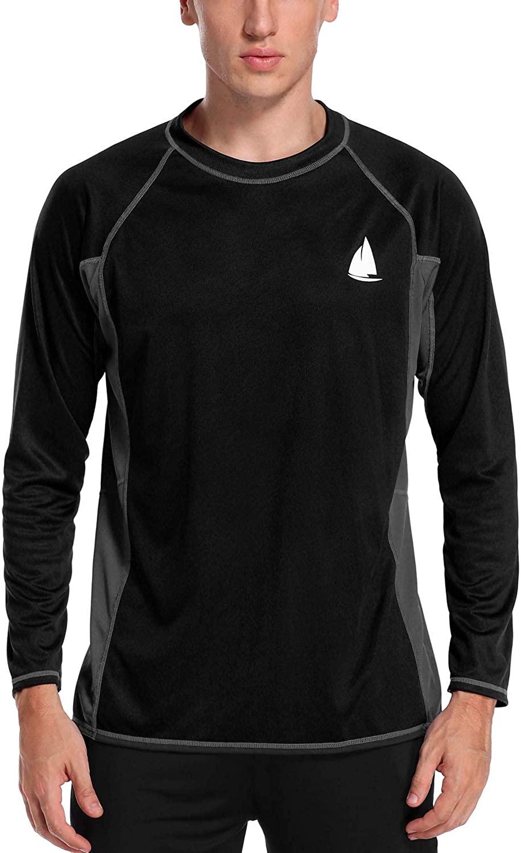 Charmo Men's Rash Guard Loose Fit Long Sleeve UV Sun Protection Swim Shirt UPF 50+