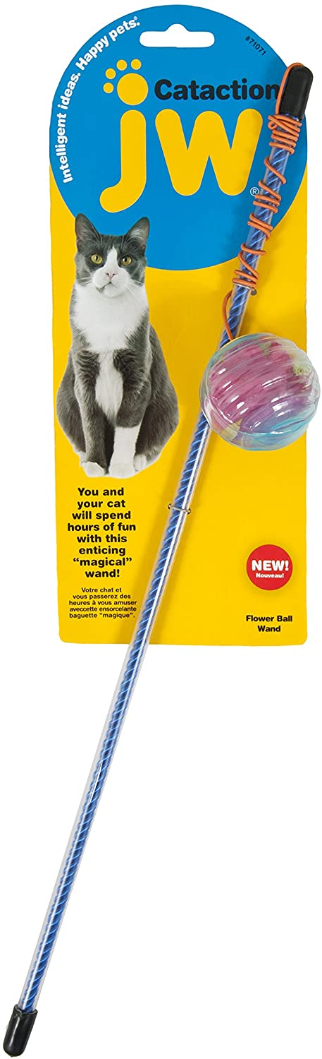 JW Cataction Flower Ball Wand Toy, Multicolor