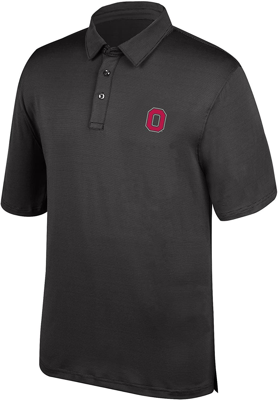 J America NCAA Men's Ohio State Buckeyes Yarn Dye Striped Polo Shirt, Medium, Black