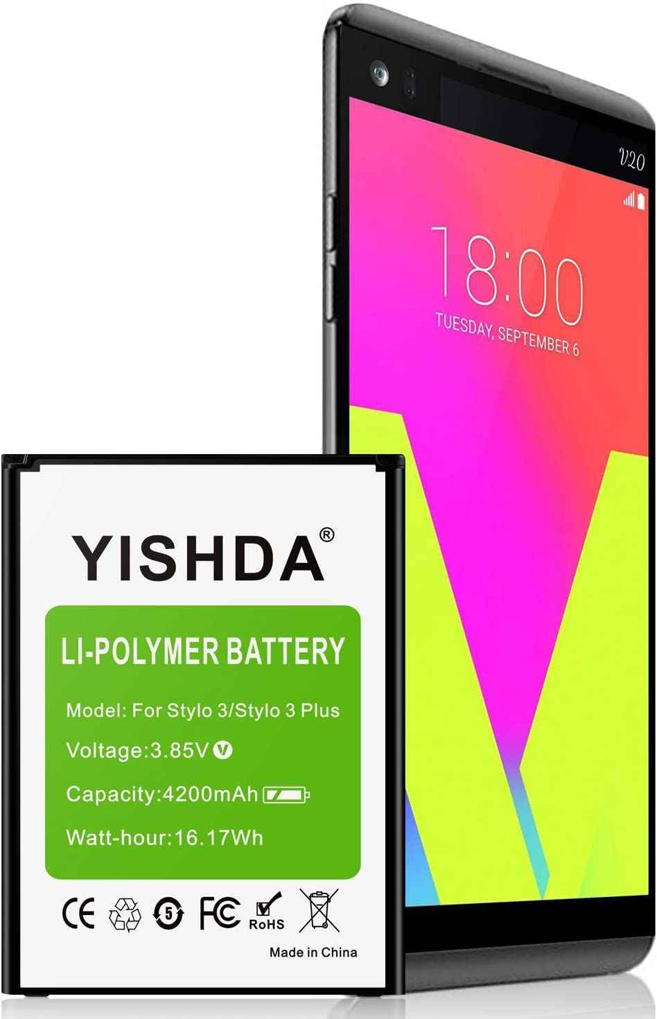 LG Stylo 3 Battery, YISHDA 4200mAh Li-Polymer Replacement Battery for LG Stylo 3, LG Stylo 3 Plus Cell Phone | LG Stylo 3 Spare Battery [18 Month Warranty]