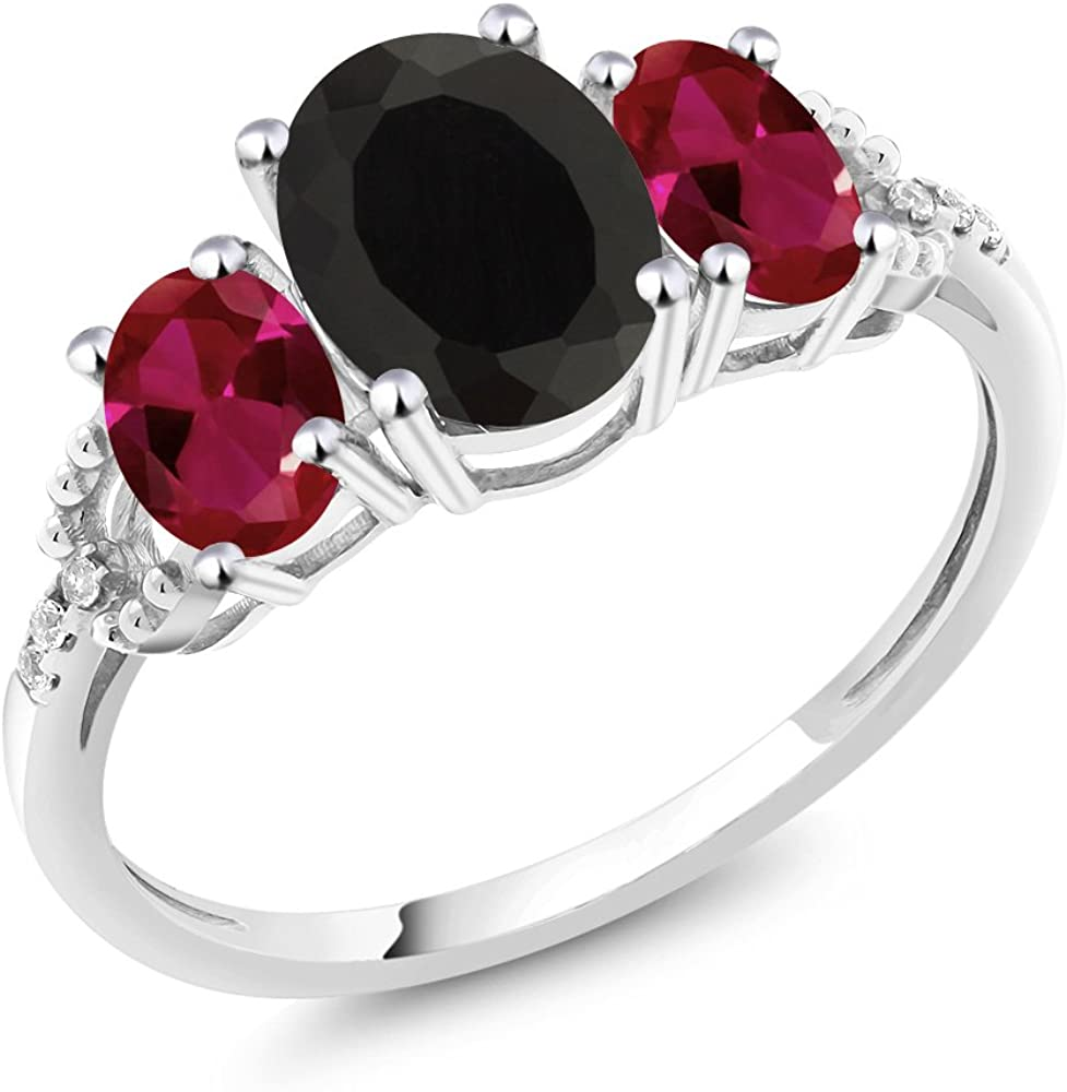 Gem Stone King 10K White Gold Diamond Accent 3-Stone Engagement Ring set with 2.30 Ct Oval Black Onyx Red Created Ruby (Available 5,6,7,8,9)