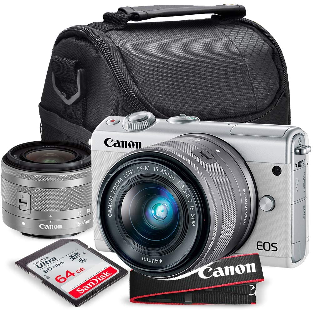 Canon EOS M100 Mirrorless Camera w/ 15-45mm Lens (White) + 64GB + Battery & Charger + Flexable Tripod + Xpix Deluxe Accessory Bundle