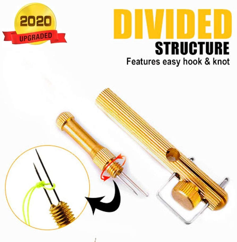 Fishing Gear Knot Tying Tool - Manual Portable Fast Fishing Supplies for Hooks Jigs Swivels, Line Cutter, Cover Hooks on Fishing Poles Travel Safely Fully Rigged - Ideal for Bass Ice Kayak Fishing
