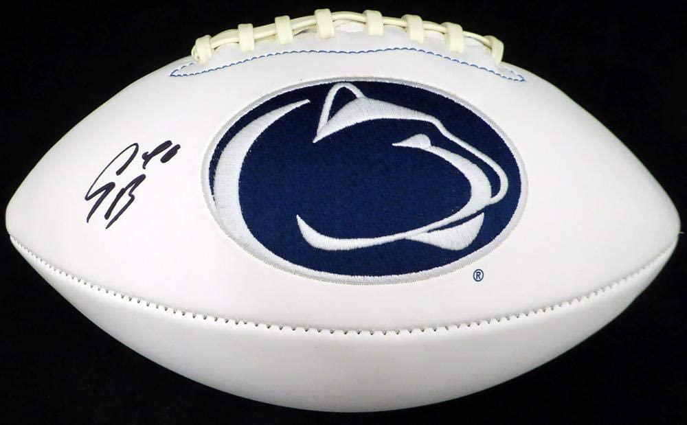 Saquon Barkley Autographed Penn State Nittany Lions White Logo Football Beckett BAS Stock #128234 - Beckett Authentication
