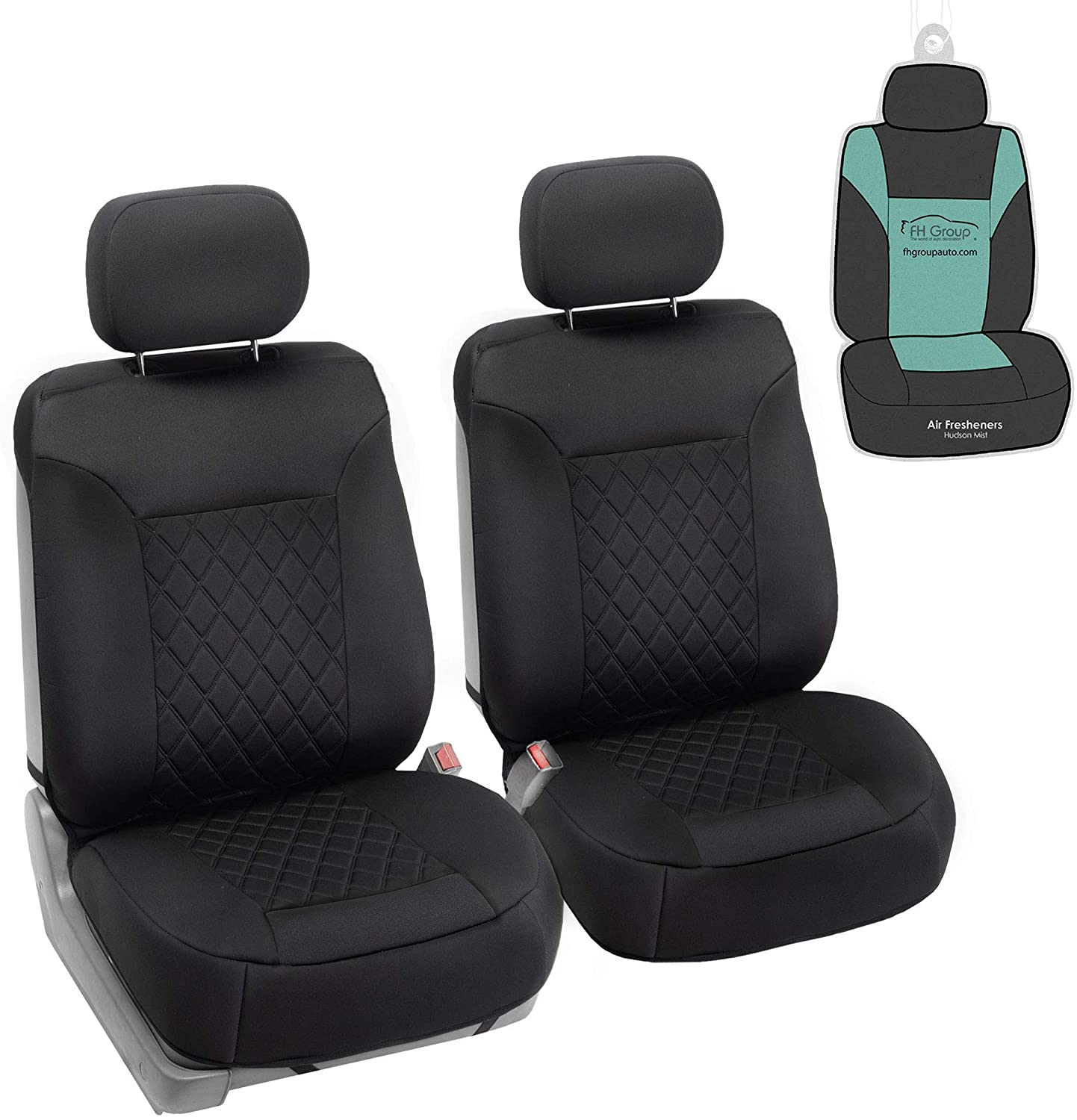 FH Group FB088102 Neosupreme Deluxe Quality Car Seat Cushions (Black) Front Set with Gift - Universal Fit for Cars Trucks and SUVs
