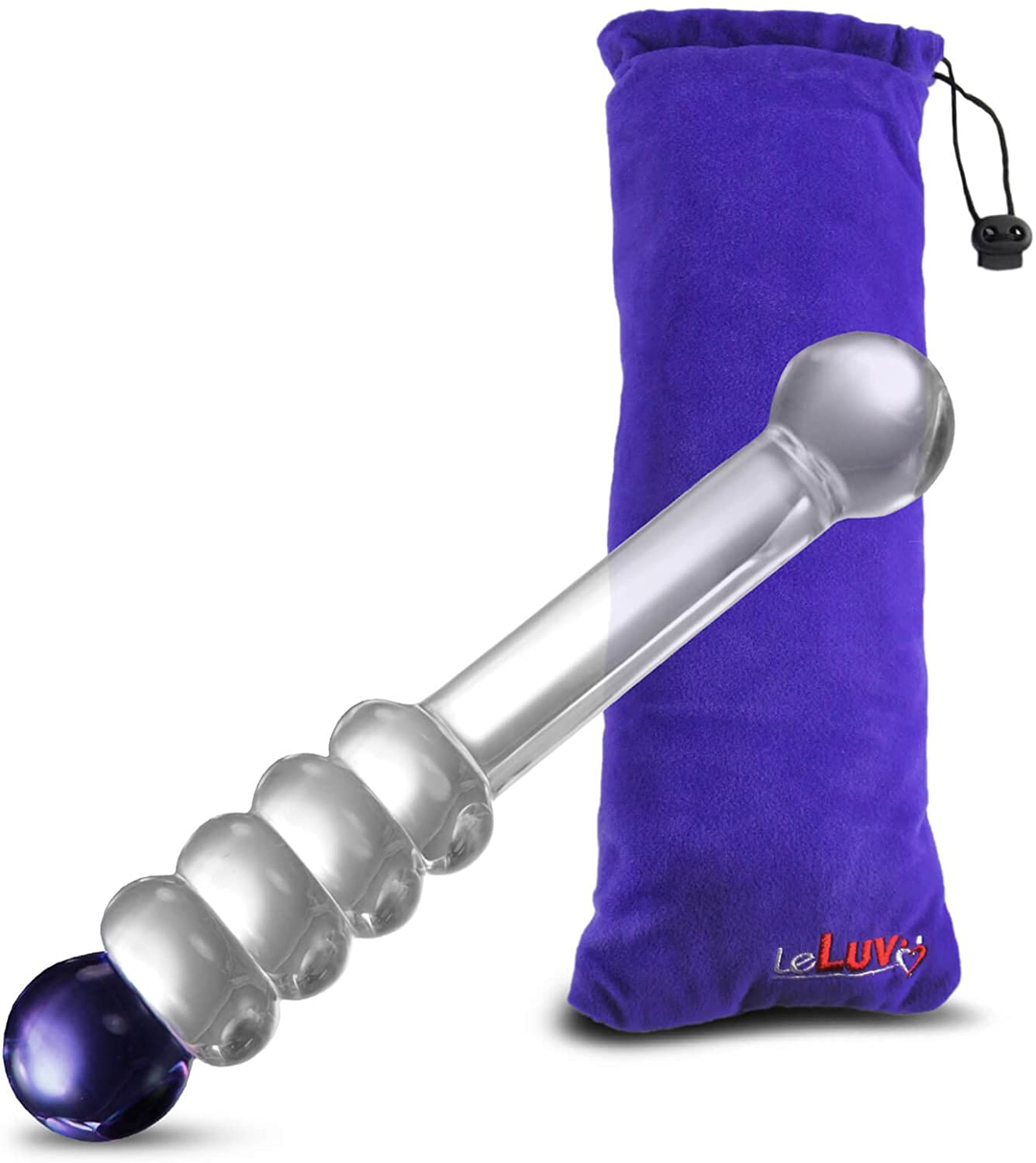 LeLuv Glass Dildo 8 inch Mystic Wand Beads Blue Bundle with Premium Padded Pouch
