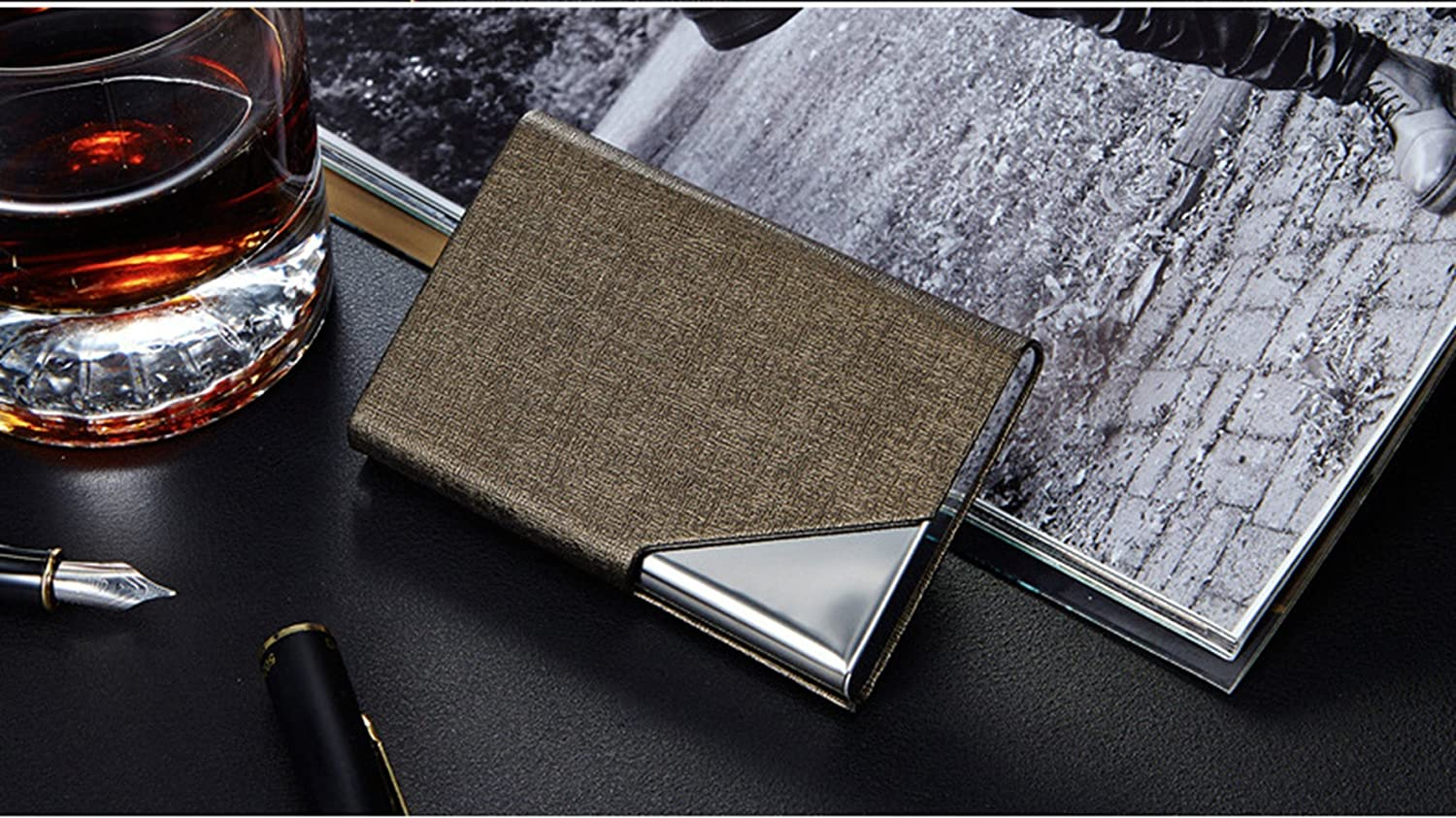 LinTimes PU Leather Stainless Steel Business Card Holder Name Card Case with Magnetic Shut Bronze