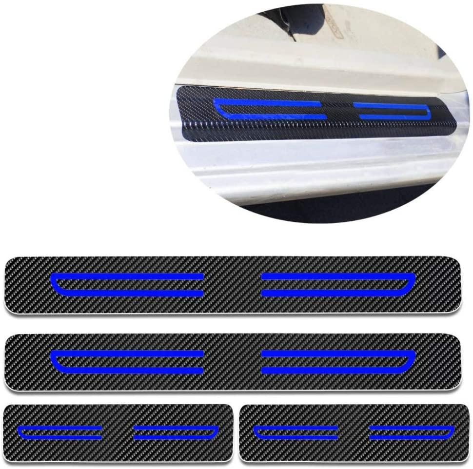 For Hyundai i40 ix20 ix35 Car Door Sill Auto Parts 3D Carbon Fiber Welcome Pedal Protect Protector Sill Guards Anti-kick Scratch Door Entry Guard Threshold Sticker 4pcs Blue