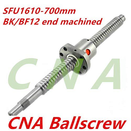 Ochoos SFU1610 700mm 16mm Ball Screw SFU1610 Length 700 mm Plus 1pcs RM1610 1610 Ballnut CNC DIY Carving Machine BK/BF12 machined