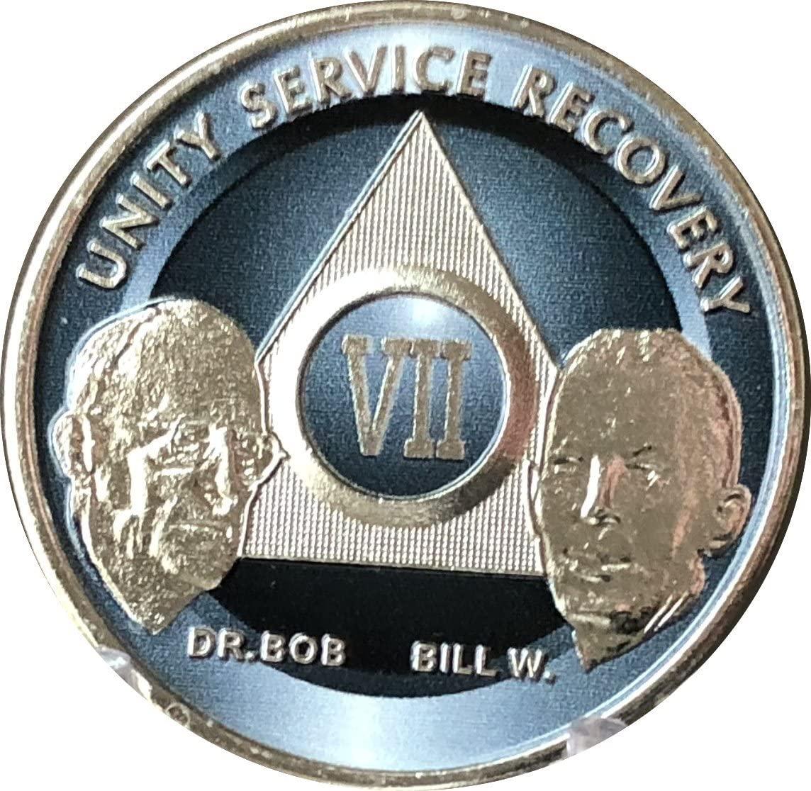 7 Year AA Founders Medallion Titanium Nickel Plated Anniversary Chip VII