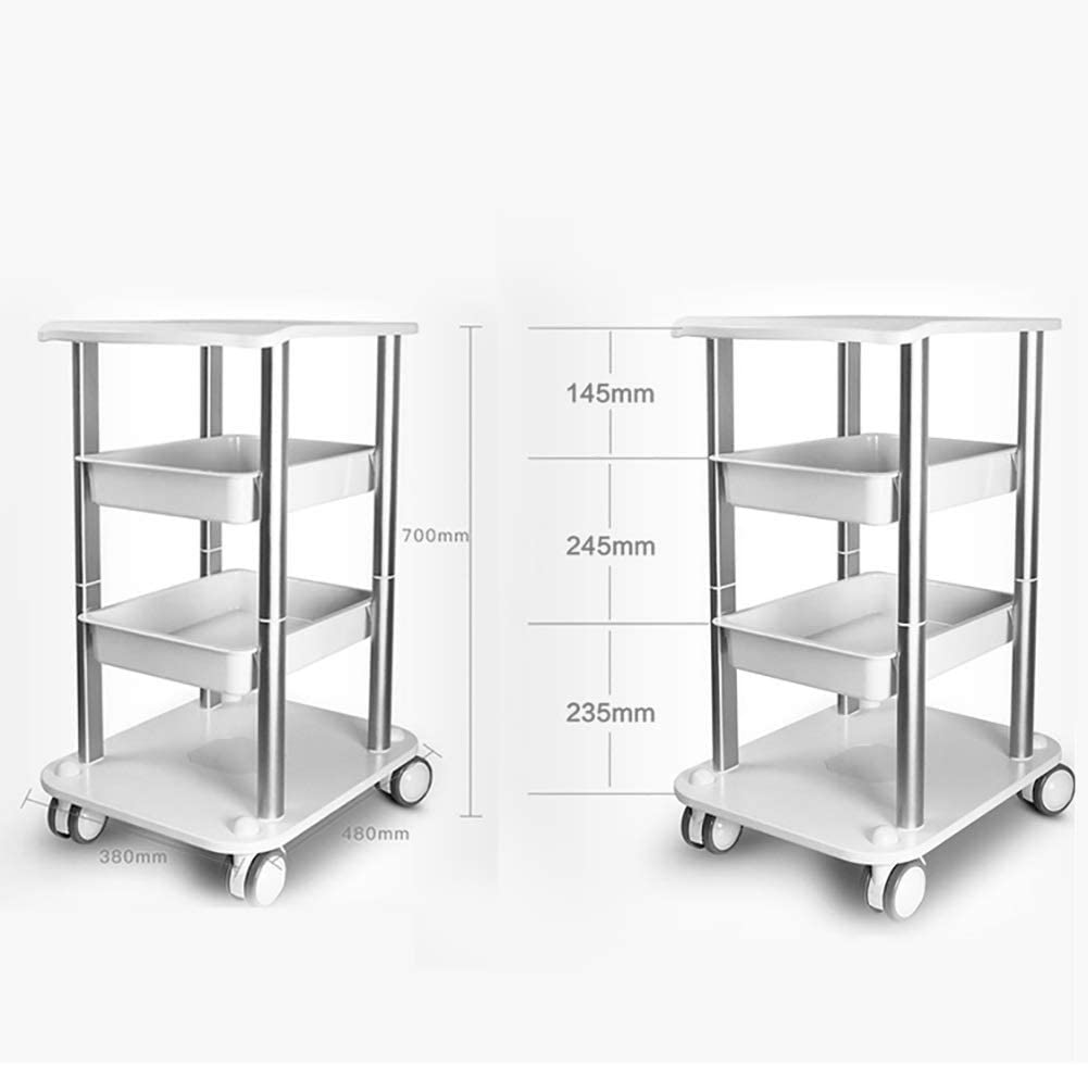 LHF Medical Supplies Rack,Hospital Trolley,Medical Cart Tool 4 Tier Beauty Salon Rolling Cart with Drawers, Spa Center & Hairdressing Silver Utility Trolley with Wheel, 100 Kg Capacity