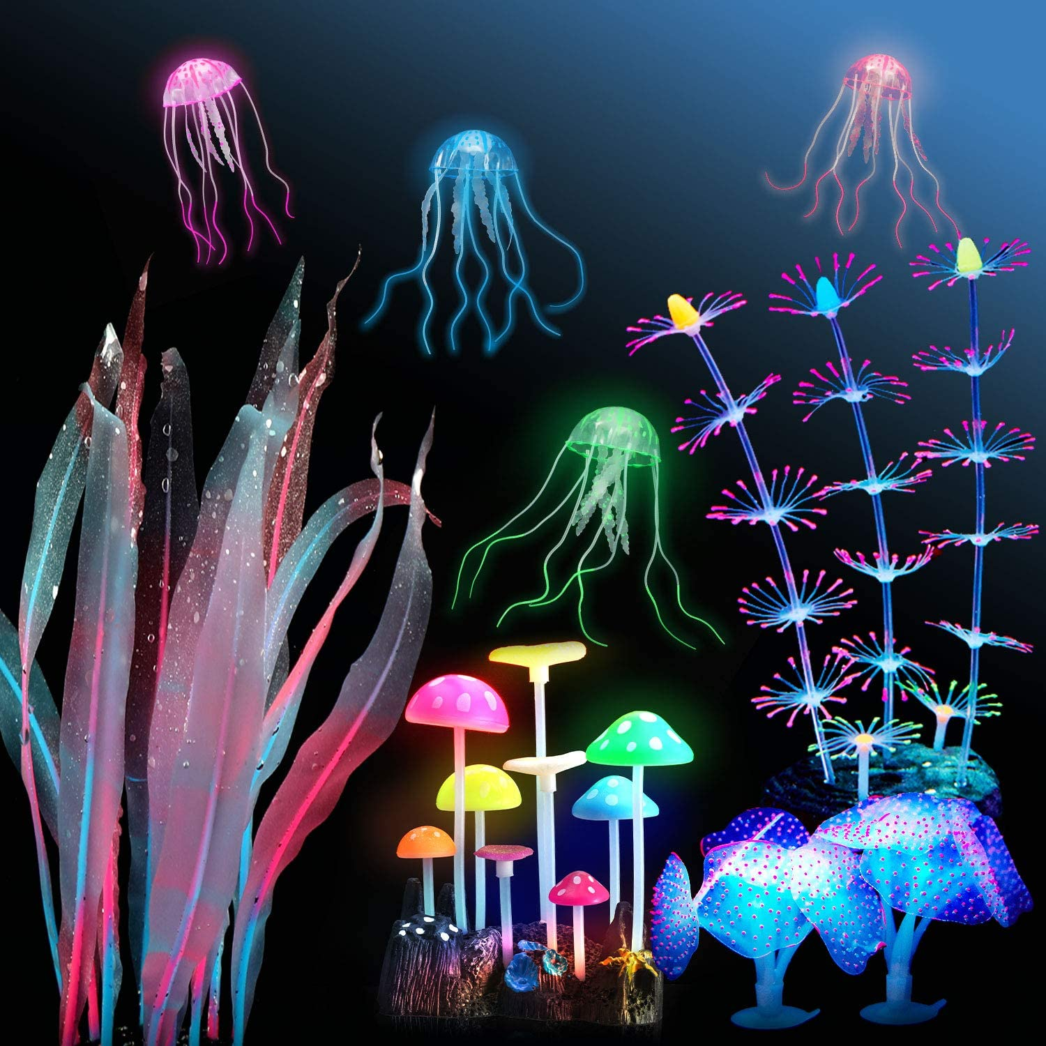 Boao 9 Pieces Aquarium Fish Tank Decorations Glowing Silicone Aquarium Ornaments Artificial Floating Jellyfish Simulation Coral Mushroom Plant Ornament for Fish Tank Accessories