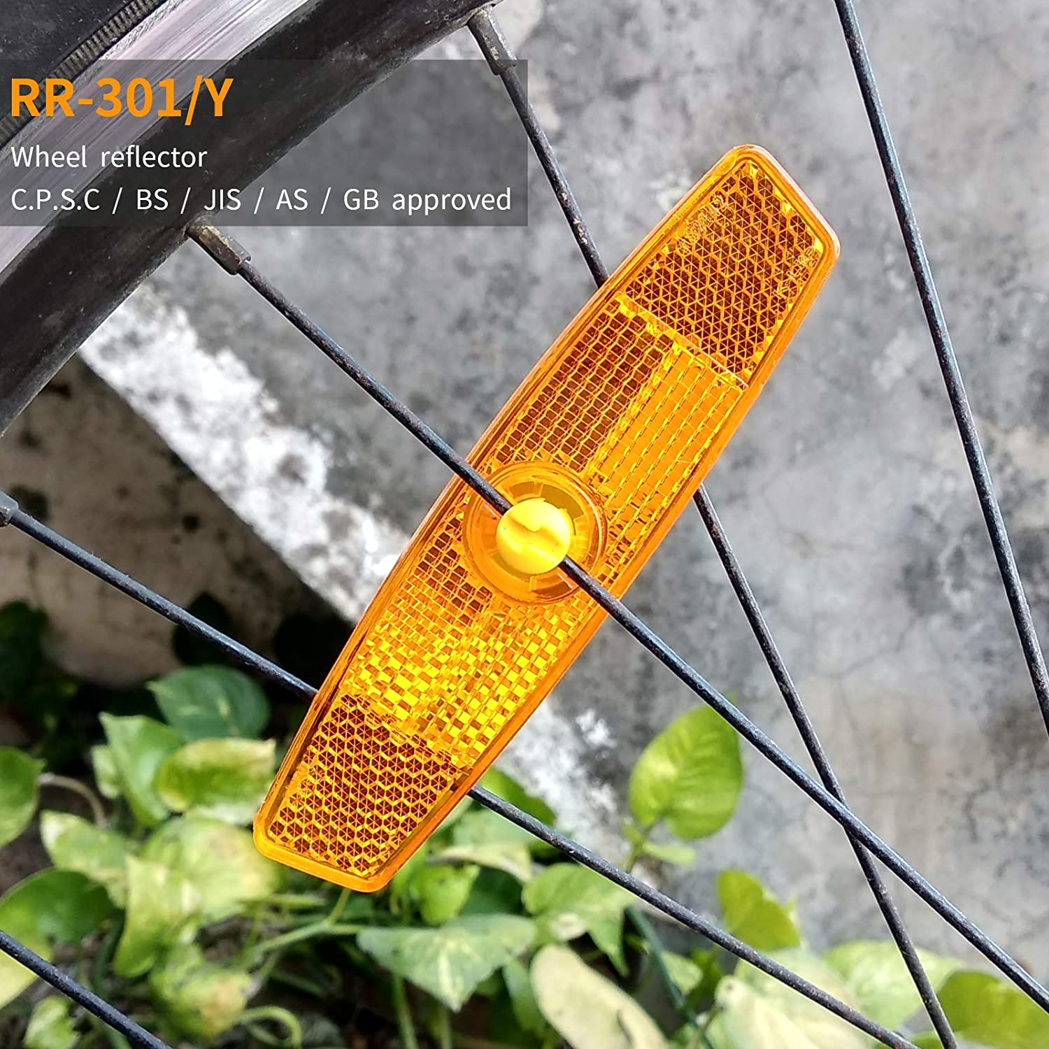 MFC PRO Bicycle Wheel Reflector Amber Pack of 2