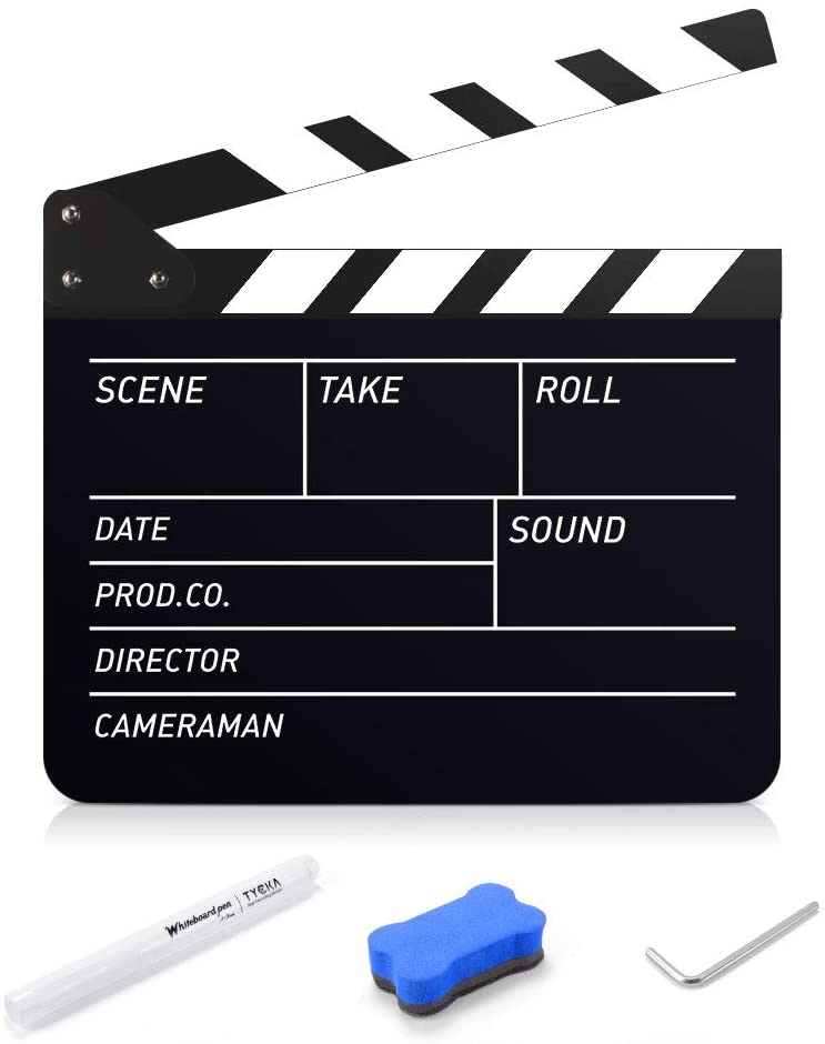 TYCKA Film Clapboard 25x30cm/10x12 Acrylic Plastic Film Clapper Board Director Movie Film Clapper Coating Slate Board with Pen and Eraser, Black