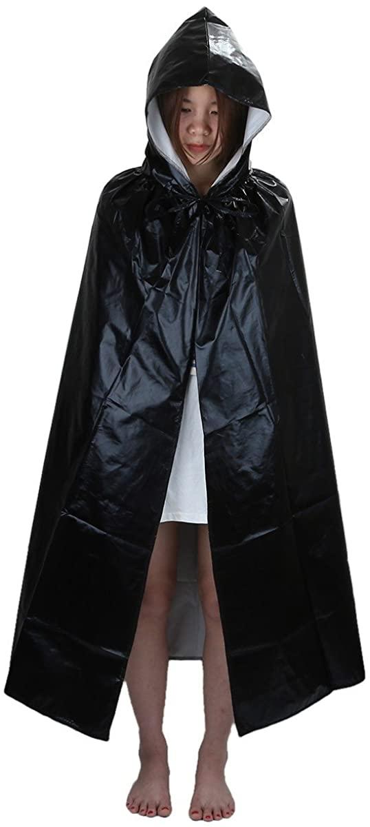 Samtree Christmas Halloween Costumes Cape for Kids,Velvet Hooded Cosplay Party Cloak (S(Length:23.6),Black-Satin)