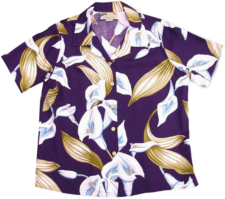 Paradise Found Women's Calla Lily Aloha Shirt, Purple, S