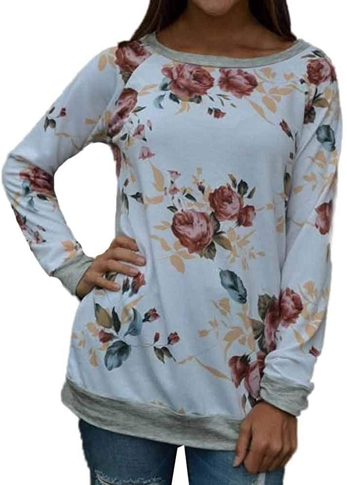 Kangma Women Casual Floral Splicing O-Neck T-Shirt Blouse Sweatshirt Long Sleeve Tops