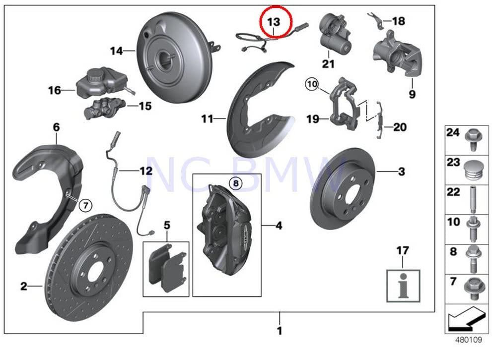 BMW Genuine Rear Brake Pad Wear Sensor