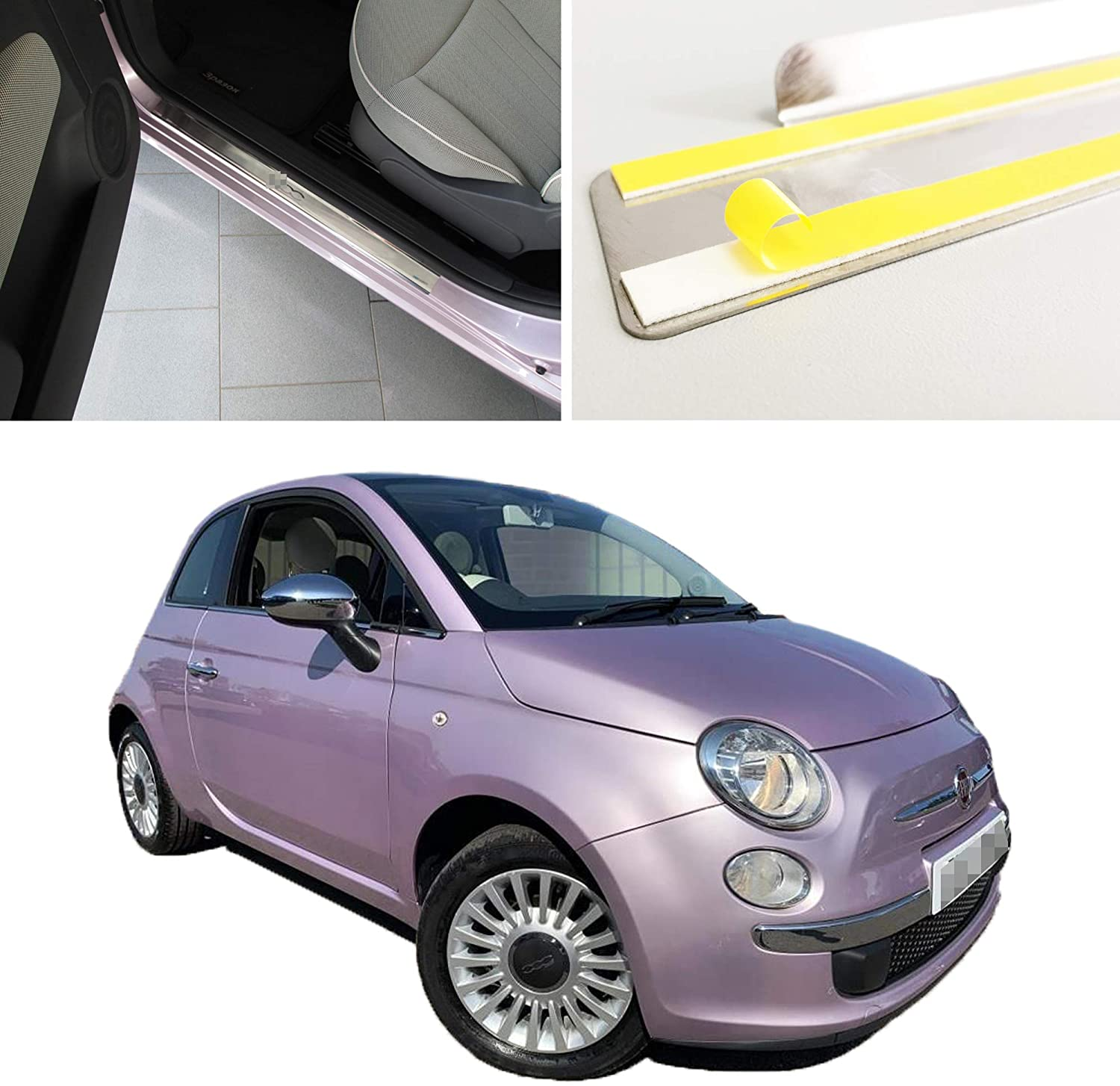 Stainless Steel Outside Fit Door Sill Scuff Plate Guard 2pcs Sills Protector Trim for Fiat 500 2007-2019
