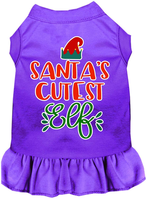 Mirage Pet Product Santas Cutest Elf Screen Print Dog Dress Purple 4X